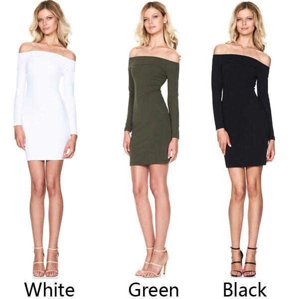 Women's Boat Neck Skin Tight Dress Pencil Skirt Long-Sleeved Sexy Mini Dress For Big Sale!- Fowish.com