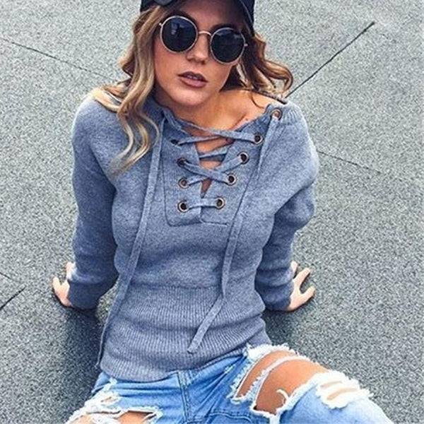 V Neck Sweater Women's Basic Bandage Knit Pullover For Big Sale!- Fowish.com