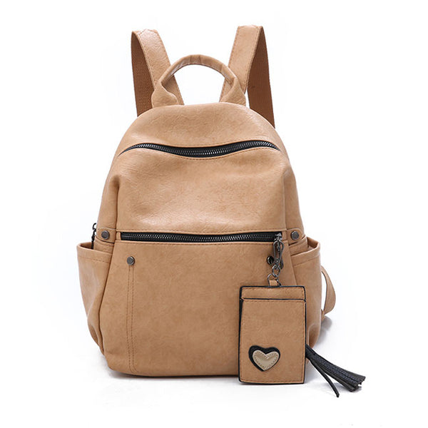Retro Pure Soft PU Leather School Backpack  Leisure Student Bag