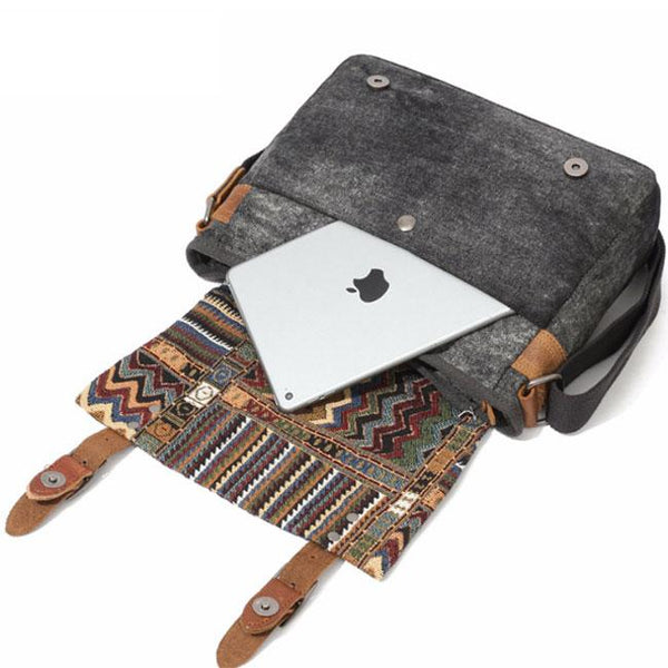 Vintage Folk Style Outdoor Totem Canvas Crossbody Bag Shoulder Bag For Big Sale!- Fowish.com