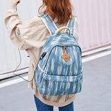 Unique USB Interface Vertical Stripes Large School Canvas Backpack For Big Sale!- Fowish.com