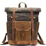 Unique Large Leather Thick Canvas Backpack Outdoor Camping Travel Backpack For Big Sale!- Fowish.com