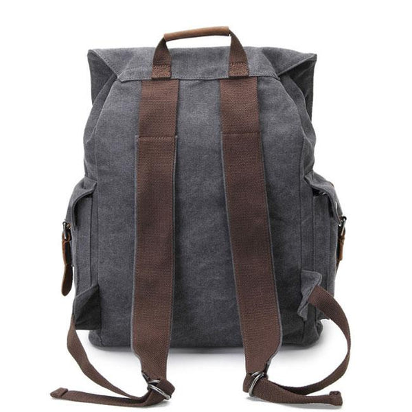 Retro Leather Three Buckle Large School Bag Outdoor Camping Travel Backpack For Big Sale!- Fowish.com
