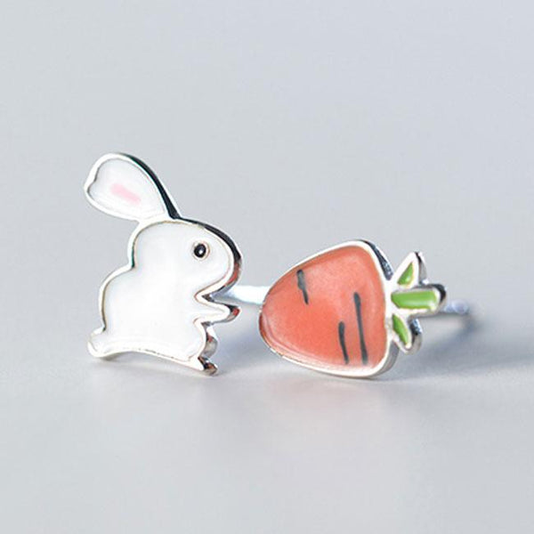 Funny Silver Cute Rabbit Asymmetric Carrot Earrings Summer Jewelry Earrings Studs For Big Sale!- Fowish.com
