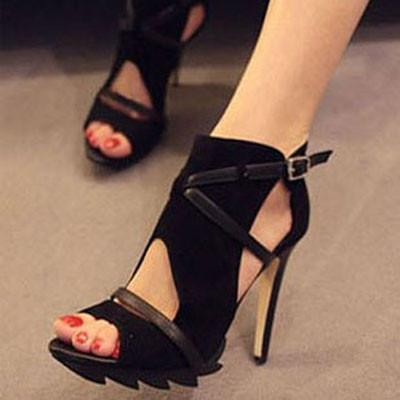 New Bandage Hollow Roman Sandals Fine With Waterproof High-heeled Shoes For wonman - lilyby