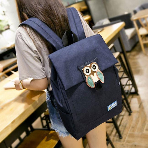 Cute Owl Waterproof School Rucksack Leisure Solid Travel Canvas Backpacks For Big Sale!- Fowish.com