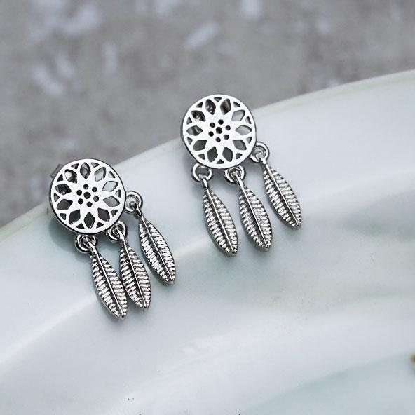 Cute Dream Catcher Feather Girl's Hollowed-out Folk Tassel Silver Earring Studs For Big Sale!- Fowish.com