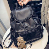 Leisure Weave Black PU Rucksack Bear Doll Travel College Backpack - lilyby