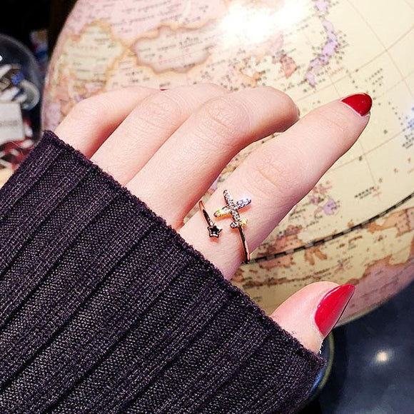 Creative Airplane Butterfly Love Strawberry Rhinestone Adjustable Open Ring For Big Sale!- Fowish.com