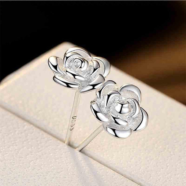 Cute Rose Flower Shaped Bauhinia New Silver Earrings Studs For Big Sale!- Fowish.com