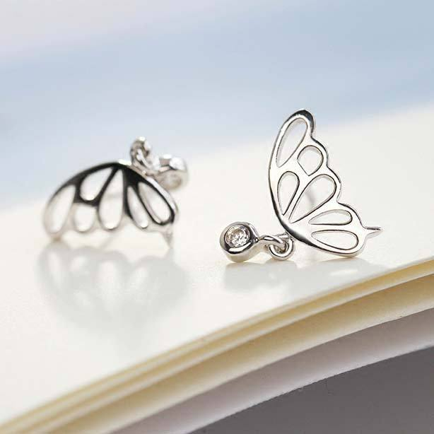 Cute Hollowed-out Butterfly Wings Mini Crystal Pendant Silver Animal Earring Studs For Big Sale!- Fowish.com