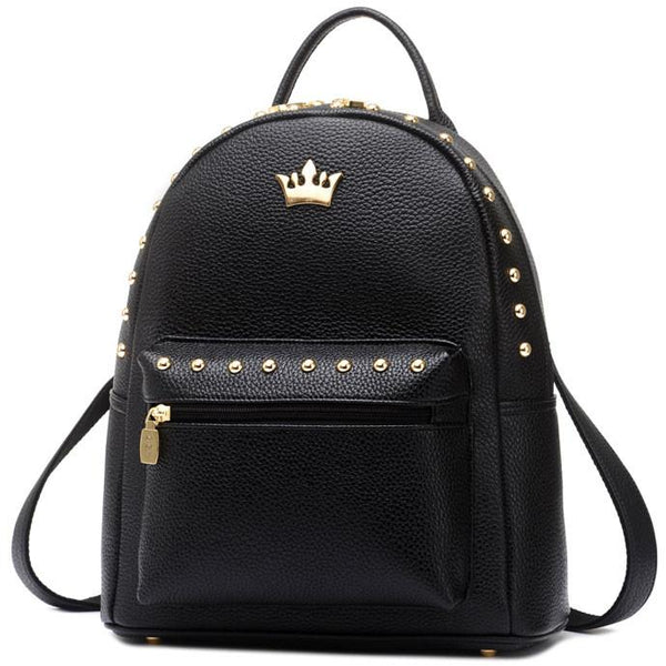 Leisure Lady Rucksack Punk Crown Rivet PU School Backpack - lilyby