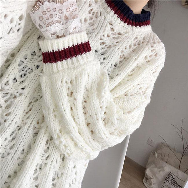 Hollowed-out Flower Design Sweater Dress For Big Sale!- Fowish.com