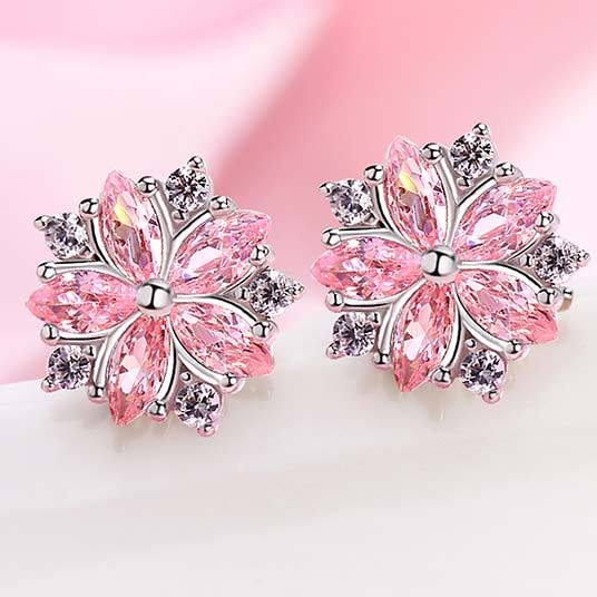 Cute Diamond-bordered Cherry Flower Dating Silver Student Girl's Zircon Earrings Studs For Big Sale!- Fowish.com