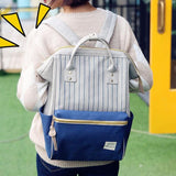 Unique Square Waterproof Stripe Laptop School Bag Multi-function Travel Canvas Backpack For Big Sale!- Fowish.com