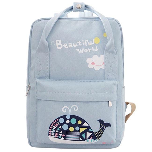 Cute Whale Flower Printing School Bag Backpack Beautiful World Cartoon Fresh Canvas Rucksack For Big Sale!- Fowish.com