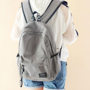 Fresh Waterproof Pure Color Letters Belts School Bag Young Simple Travel Backpack For Big Sale!- Fowish.com