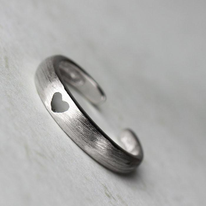 Cute Hollow Heart Opening Rings Silver Tail Rings - lilyby