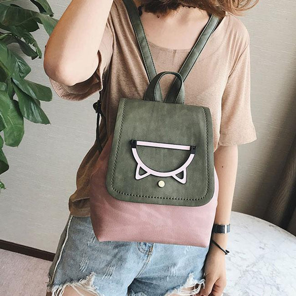 Retro Bucket Hollow Cartoon Animal Cartoon College Girl's Small Cat Head Backpack For Big Sale!- Fowish.com