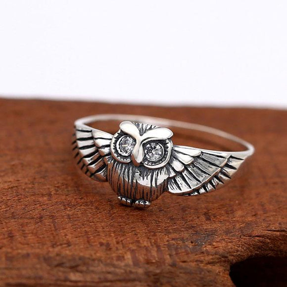 Retro Personality Thai Silver Owl Animal Crystal Women Ring For Big Sale!- Fowish.com