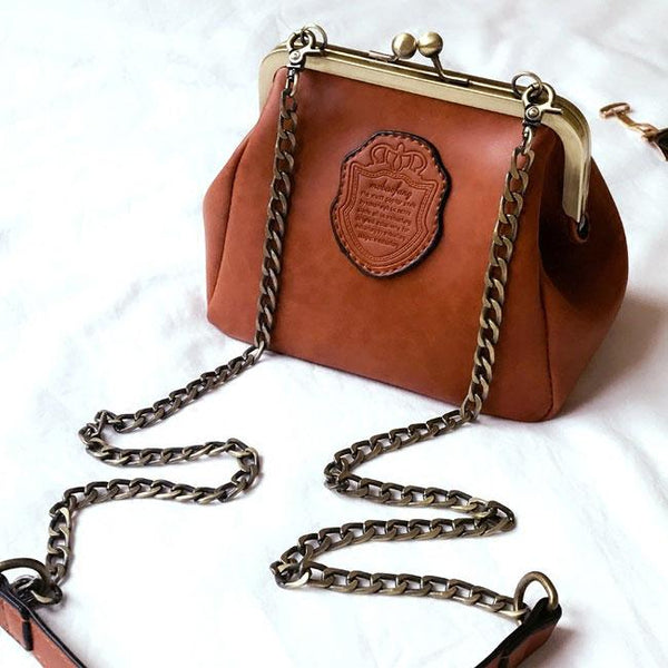 Retro Frosted Retro Crip Shell Shape Metal Chain Belt Small Lady PU Shoulder Bag For Big Sale!- Fowish.com