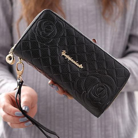 Cute Girl's PU Rose Embossed Phone Wallet Double-bagged Ziplock Purse Clutch Bag For Big Sale!- Fowish.com