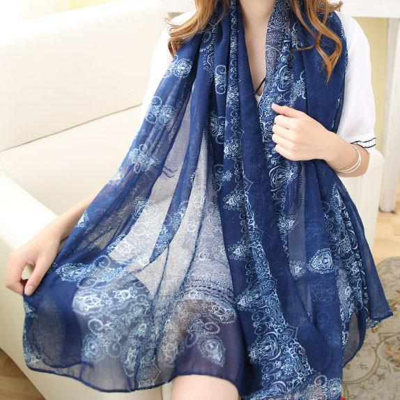 Blue And White Porcelain Shawl Scarf Dual Beach Towel Girl Sunscreen Scarf - lilyby