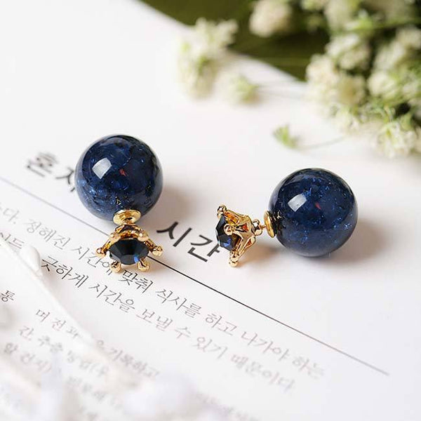 Fashion Deep Blue Ice Crystal Ball Crown Dual-purpose Round Women Earring Studs For Big Sale!- Fowish.com