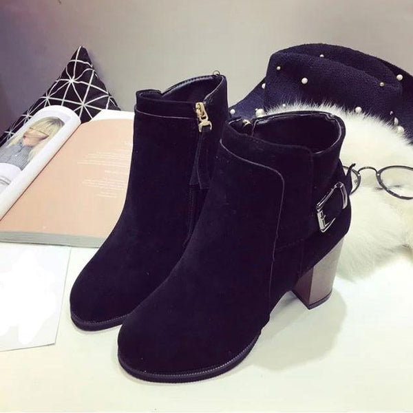 Matte High Heeled Ankle Short Boot Rotre Round Toe Side Zipper Martin Boots - lilyby
