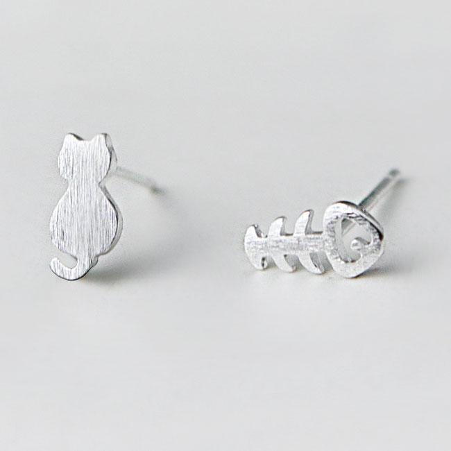 Unique Cat Fish Bone Kitty Mini Brushed Silver Girl's Cute Animals Different Earring Studs For Big Sale!- Fowish.com