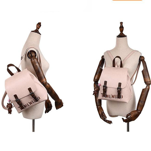 Fashion Frosted PU Letters Embroidery Belt Flap Small School Backpack For Big Sale!- Fowish.com