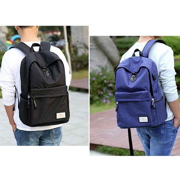 Unique Gray Large Capacity Camping Bag USB Interface High Quality Canvas School Backpack For Big Sale!- Fowish.com