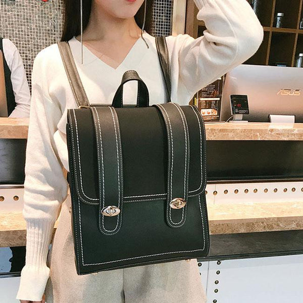 Retro Frosted Two Large Belts PU School Bag Square Student Backpack For Big Sale!- Fowish.com