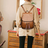 Retro Brown PU School Bag Simple British Style Tassel Simple College Backpack For Big Sale!- Fowish.com
