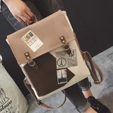 Retro British Style Eiffel Tower Patch College Bag PU Student Backpack For Big Sale!- Fowish.com