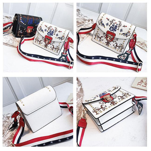 Cute Rivet Women's Mini Embroidered Messenger Bag Small Square Shoulder Bag For Big Sale!- Fowish.com