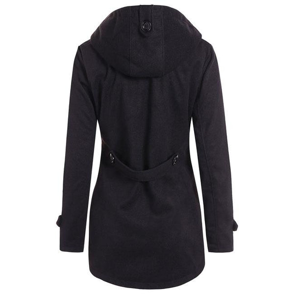 Fashion Fall Winter Long-style Horn Button Wool Hooded Silm Coat Trench Women's Coat For Big Sale!- Fowish.com