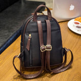 Leisure Mini Contrast Color Stripe Black Soft PU Backpack For Big Sale!- Fowish.com