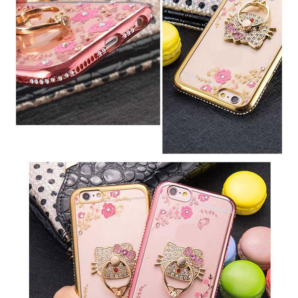 Shining Diamond-bordered Flowers Cat Peacock Hold Ring Iphone 6/6s/6 plus/6s plus/7/7 plus/8/8 plus Iphone Case For Big Sale!- Fowish.com
