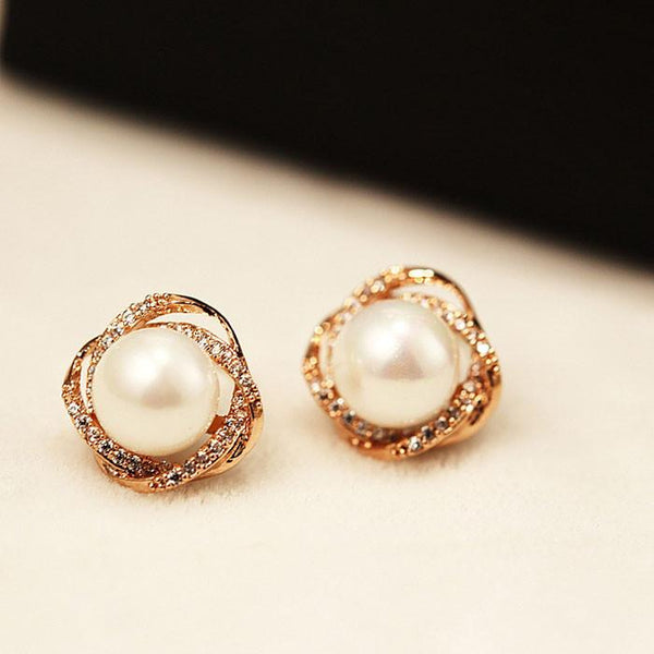 Cute Spiral Winding Pearl Rhinestone Geometry Women Stud Earrings For Big Sale!- Fowish.com
