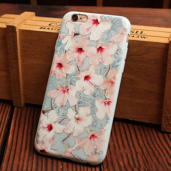 Fresh Morning Glory Flower Relief Silicone Soft Iphone Cases For 6/6Plus - lilyby