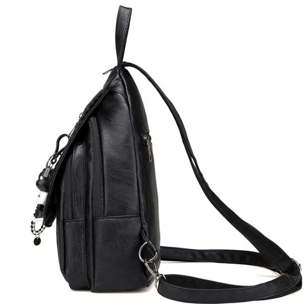 Leisure PU Black Weave Bag Small Multi-function Shoulder Bag Woven Backpack For Big Sale!- Fowish.com
