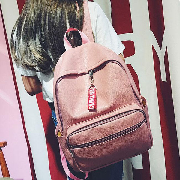 Leisure Chic Lichee Pattern Pink Large PU School Girl's Student Backpack For Big Sale!- Fowish.com
