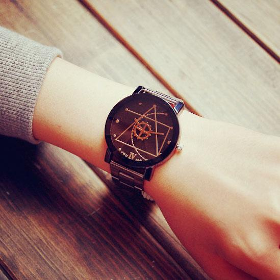 Leisure Harajuku Simple Steel Strip Couple Watch Student Quartz Watches For Big Sale!- Fowish.com