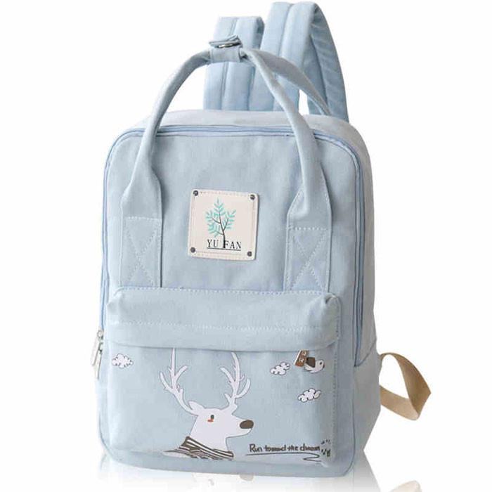 Fresh Deer Girl Rucksack College Multifunction Canvas Backpack - lilyby
