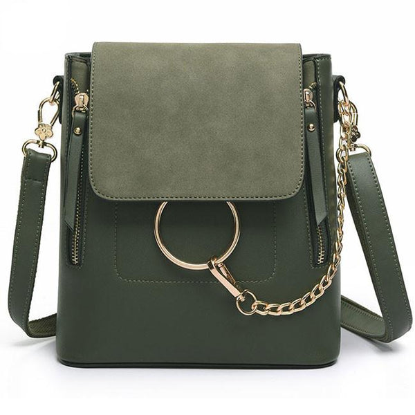 Fashion Splicing Frosted PU Metallic Chain Circular Ring Flap Square School Backpack For Big Sale!- Fowish.com