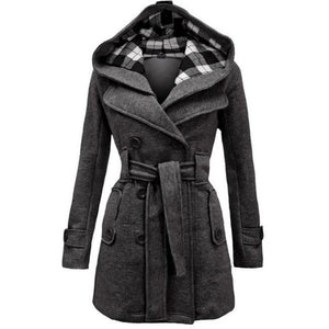 Fashion Lattice Fleece  Hoodie Double Breast Coat Jacket For Big Sale!- Fowish.com