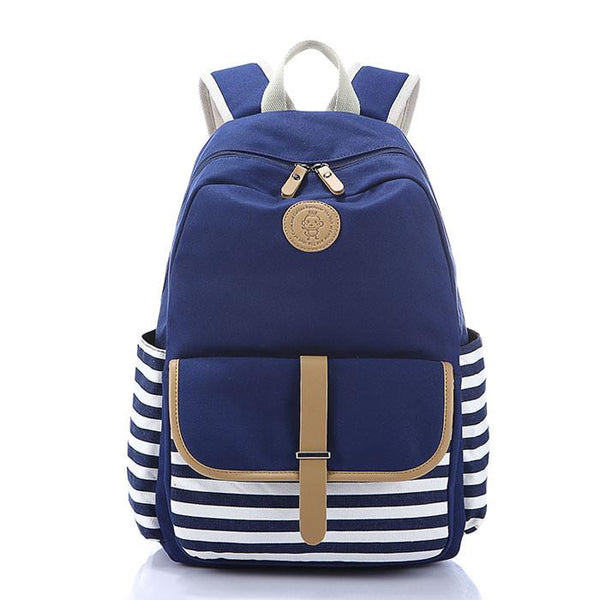 Simple Striped Large School Bag Travel Bag Canvas Backpack For Big Sale!- Fowish.com