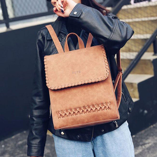 Retro Leisure Travel British Square Woven College PU Weaving Backpack For Big Sale!- Fowish.com