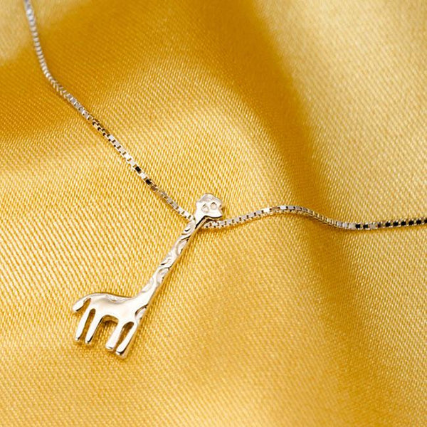 Lovely Girl's Gift Clavicle Chain Silver Giraffe Pendant Animal Adjustable Necklaces For Big Sale!- Fowish.com